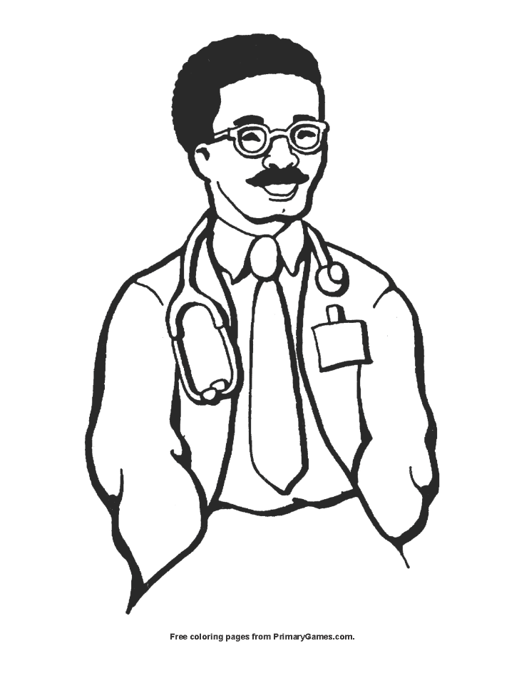 Smiling Doctor Coloring Page Printable Labor Day Coloring Ebook