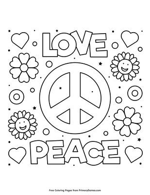 Love And Peace Coloring Page Free Printable Coloring Books