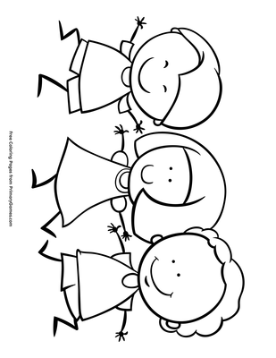 Kids Holding Hands Coloring Page Free Printable Pdf From