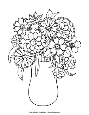 Flowers In A Vase Coloring Page Free Printable Pdf From Primarygames
