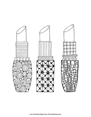Lipstick Coloring Page • FREE Printable PDF from PrimaryGames