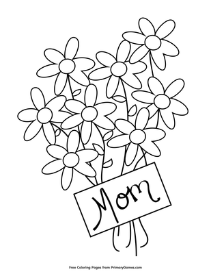 Flowers For Mom Coloring Page Free Printable Coloring Books