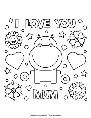 I Love You Mum Coloring Page Free Printable Pdf From Primarygames