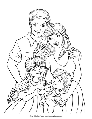 Family Coloring Page Free Printable Pdf From Primarygames