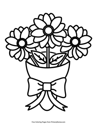 Flower Bouquet Coloring Page Free Printable Pdf From Primarygames