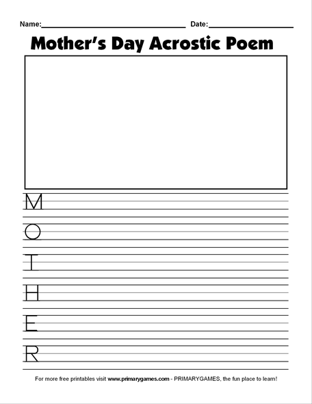 photo relating to Free Printable Mother's Day Games for Adults named Moms Working day Crafts: Moms Working day Acrostic Poem