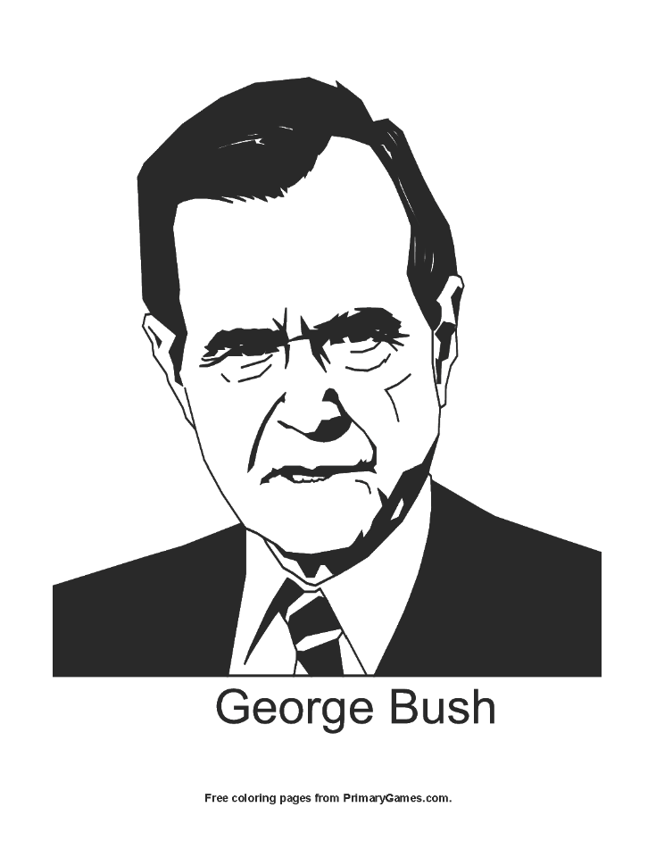 Presidents Day Coloring Page George Bush
