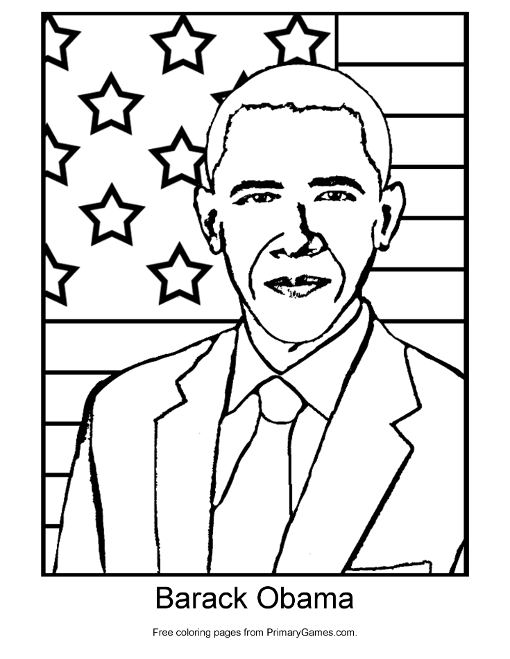Presidents Day Coloring Page Barack Obama PrimaryGames Play