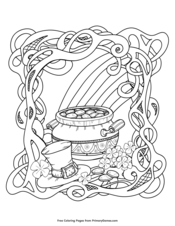 rainbow and pot of gold - St Patricks Day Coloring Pages
