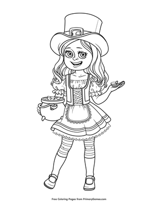 Girl in St. Patrick\'s Day Costume Coloring Page | Printable ...