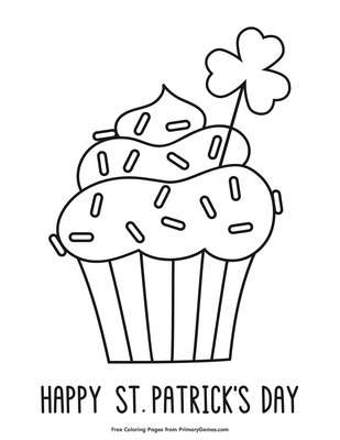 St Patrick S Day Cupcake Coloring Page Printable St Patrick S