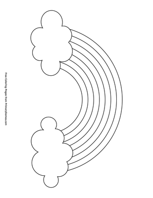 Rainbow With Clouds Coloring Page Printable St Patrick S Day