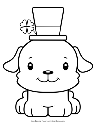 St Patrick S Day Puppy Coloring Page Free Printable Pdf From