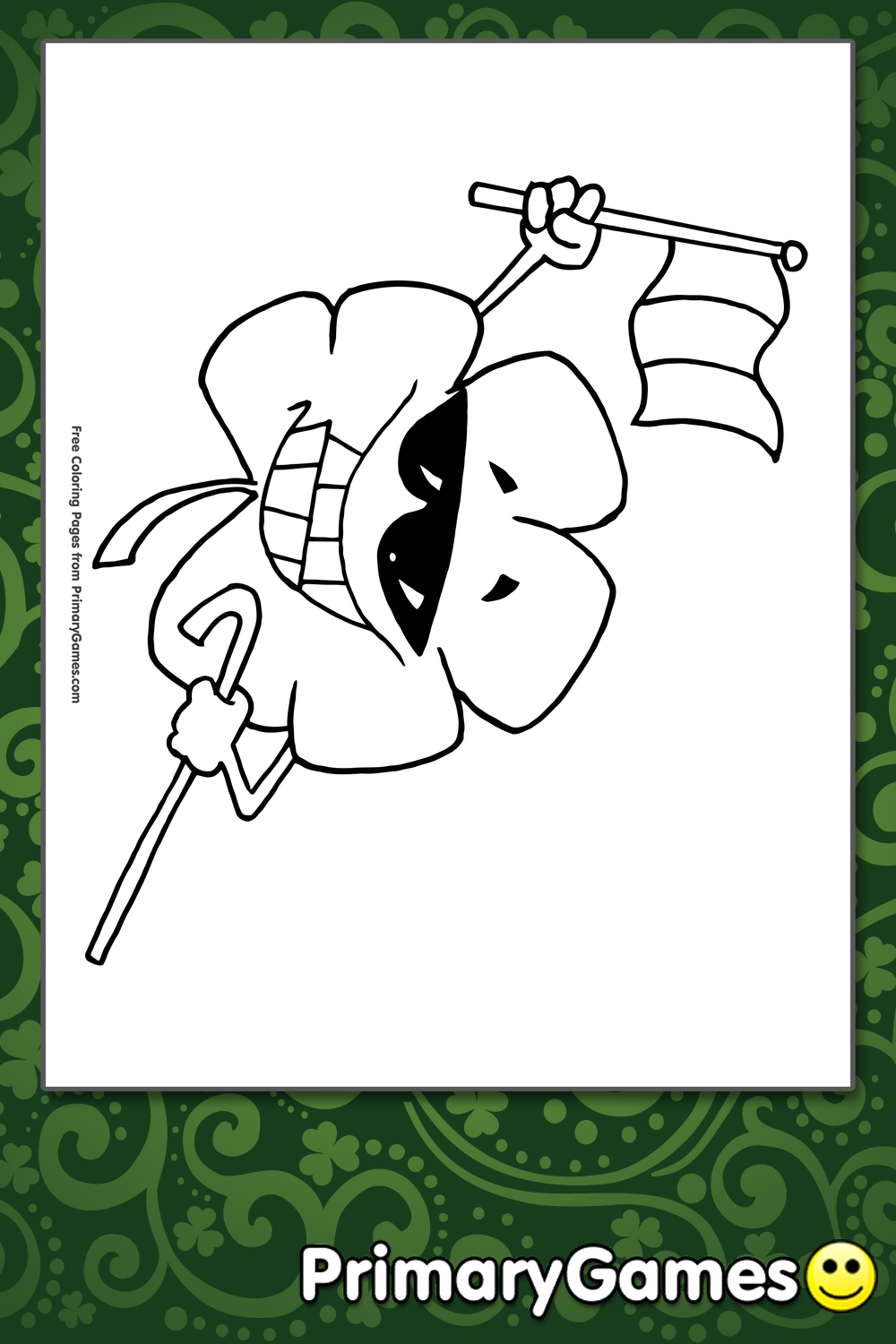 st patrick s day coloring pages pdf - shamrock holding an irish flag coloring page printable