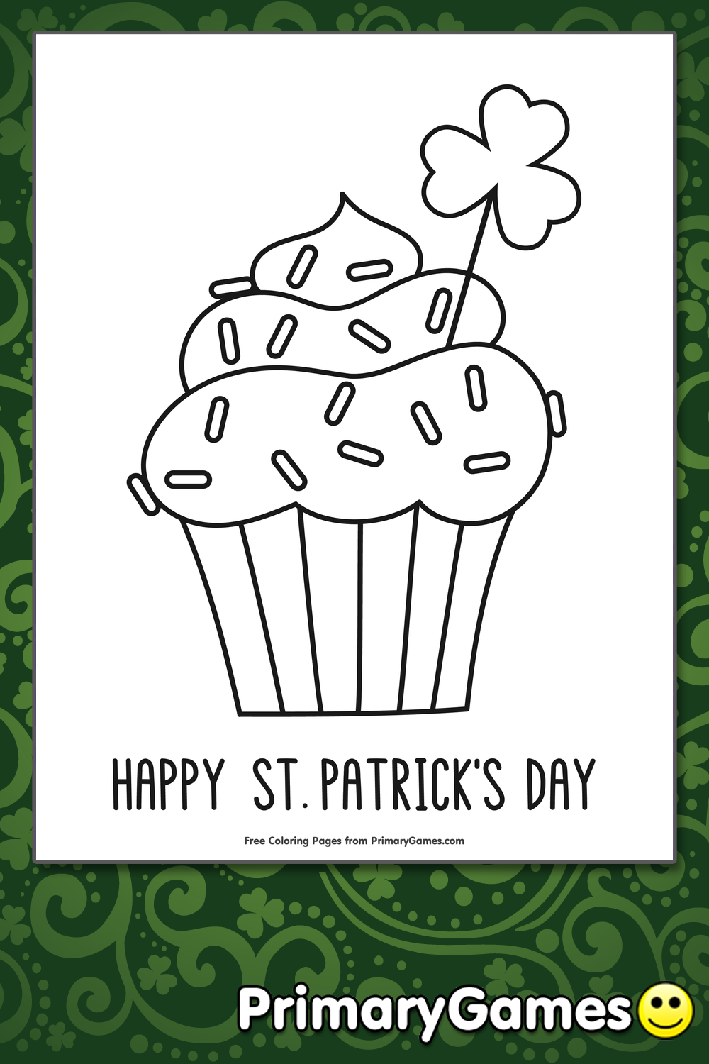 St. Patrick's Day Cupcake Coloring Page • FREE Printable PDF from ...