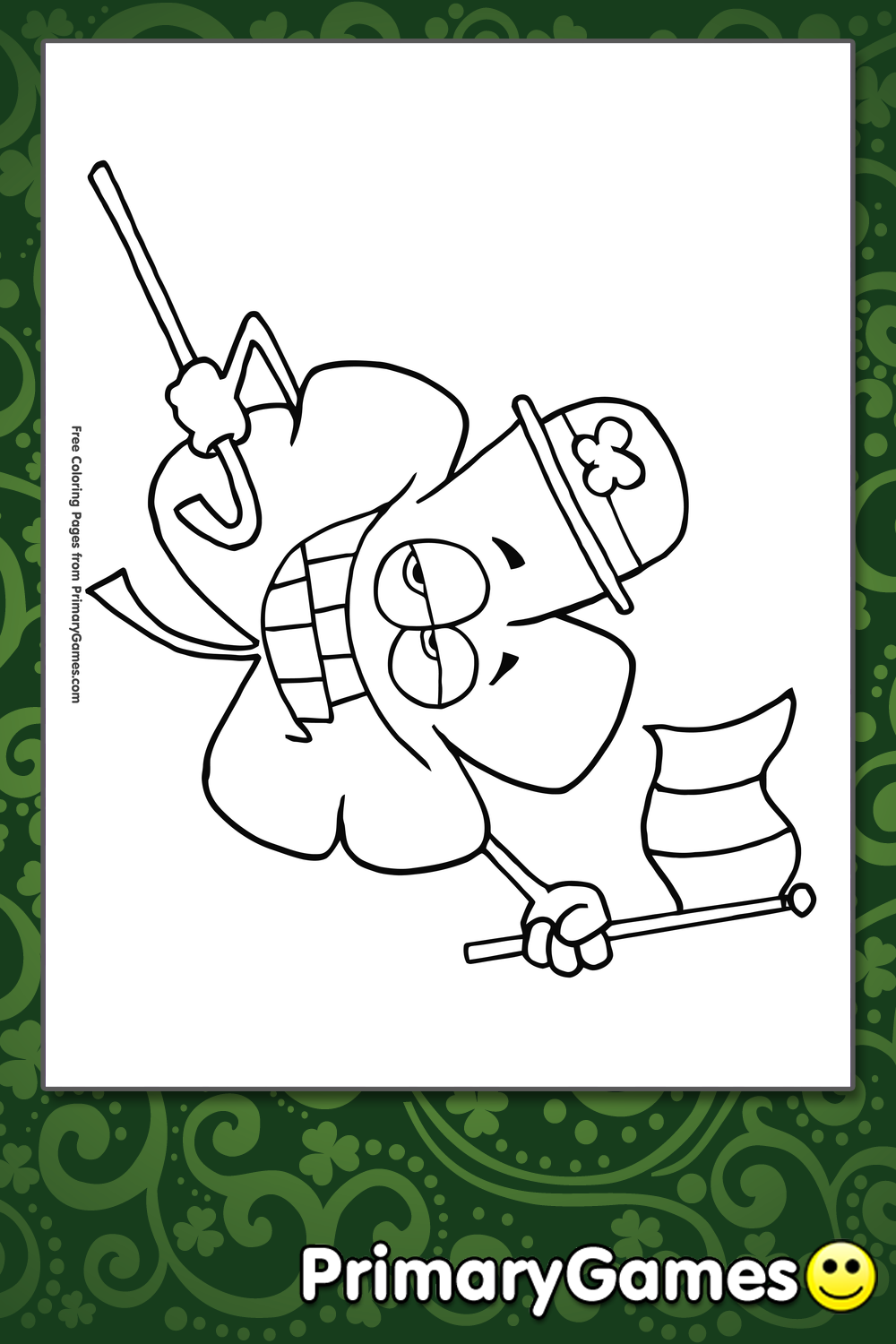 st patrick s day coloring pages pdf - shamrock with irish flag coloring page printable st