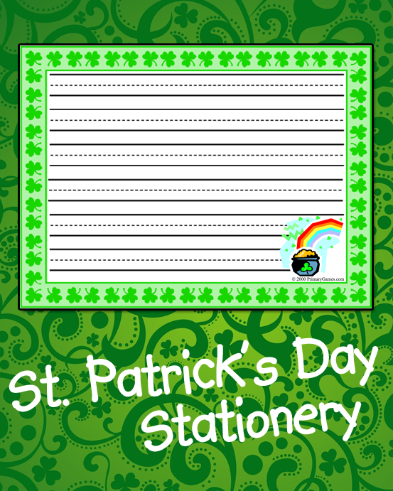 St Patrick 39 s Day Stationery PrimaryGames Play Free