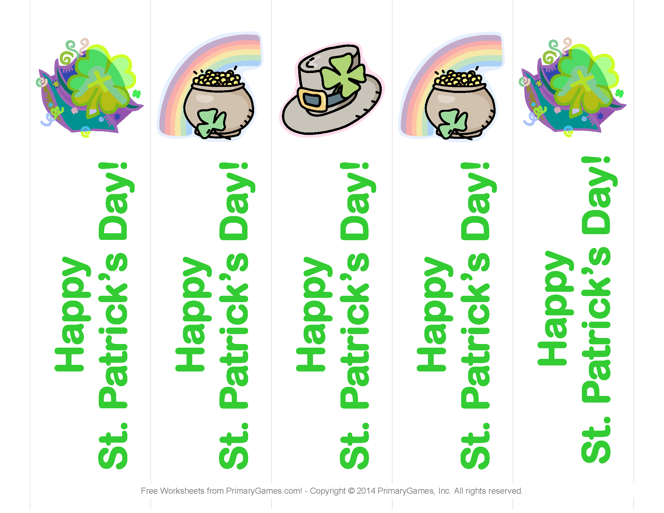 image relating to St Patrick's Day Worksheets Free Printable called St. Patricks Working day Worksheets: St. Patricks Working day Bookmarks