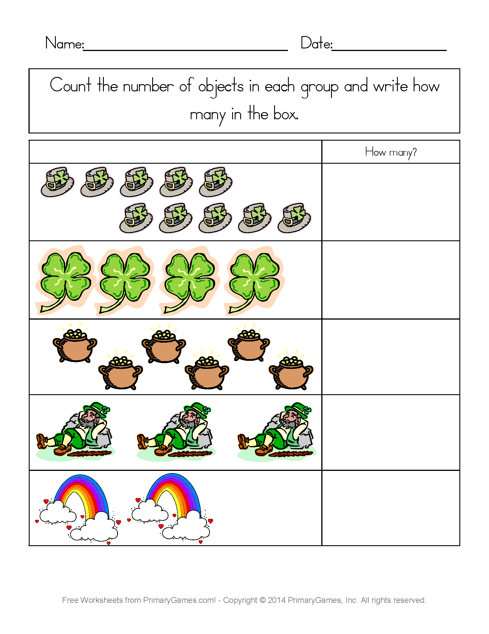 St Patricks Day Worksheets St Patricks Day Counting Practice