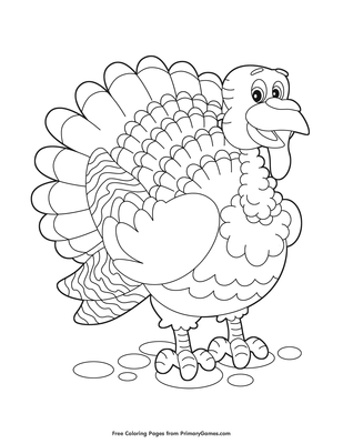 Cute Turkey Coloring Page • FREE Printable PDF from PrimaryGames