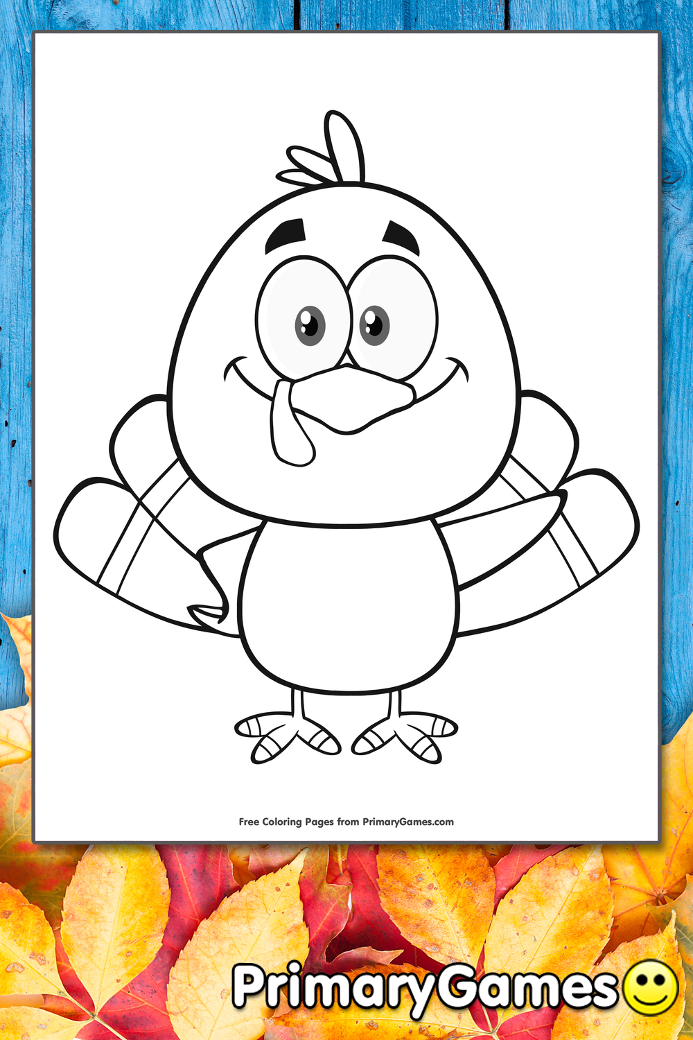 Cartoon Turkey Coloring Page Printable Thanksgiving