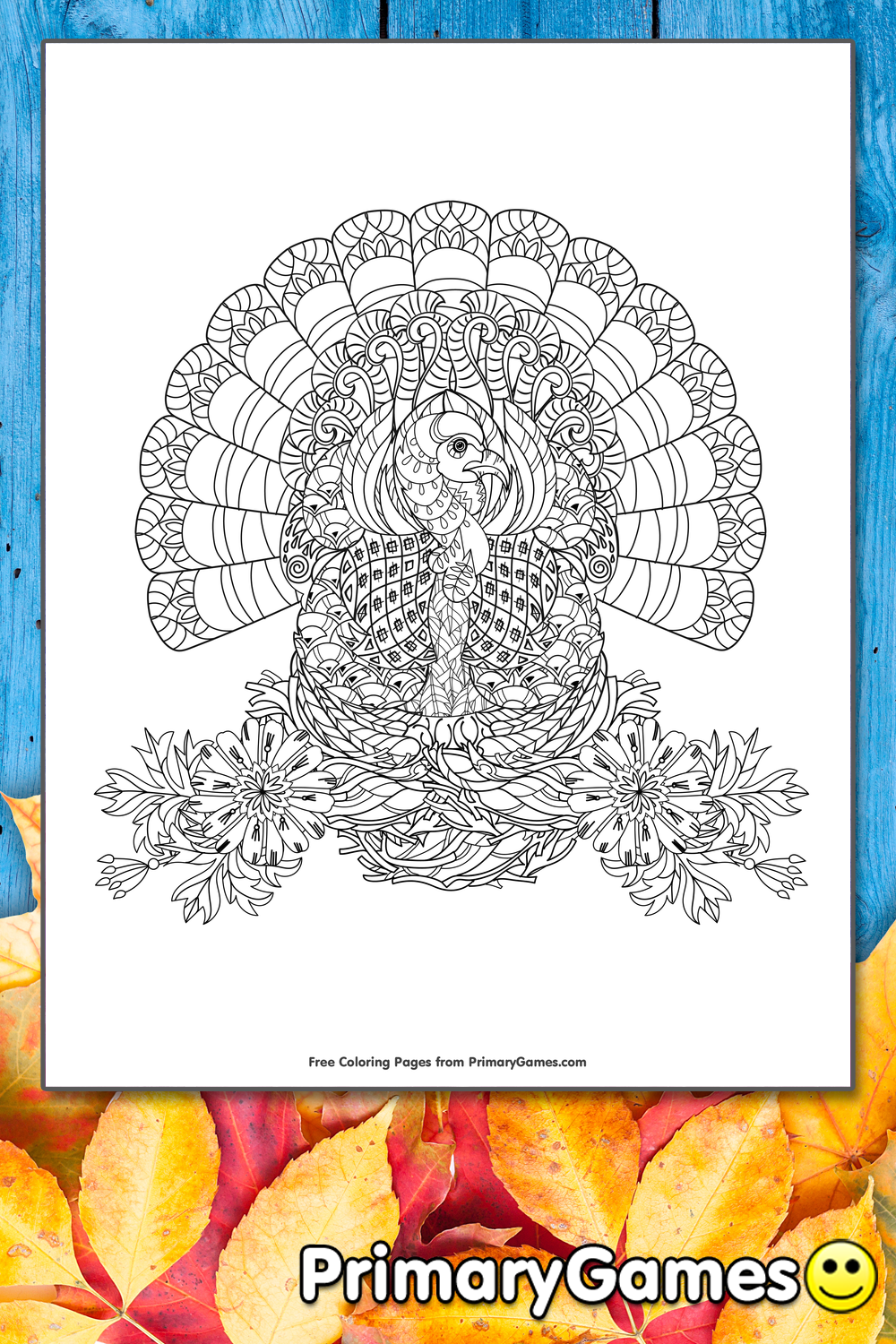 Turkey Zentangle Coloring Page Printable Thanksgiving