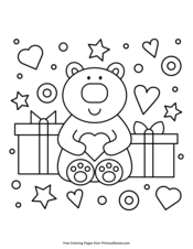 Bear Holding a Heart and Presents