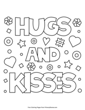 Hugs And Kisses Coloring Pages Sketch Coloring Page