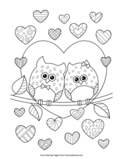 Owls in Love with Hearts