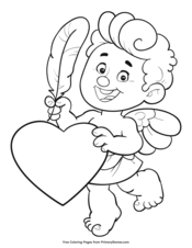 Cupid With Feather and Heart
