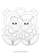 Owls in Love with Hearts Coloring Page • FREE Printable PDF from ... | 226x175