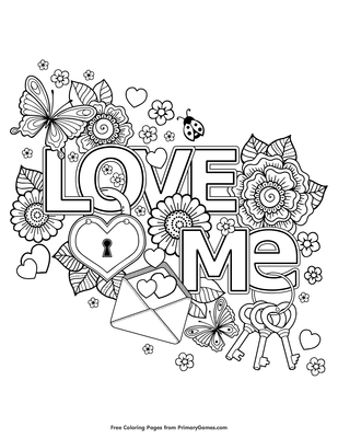 Love Me Coloring Page | Printable Valentine\'s Day Coloring eBook ...