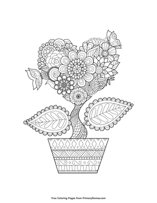 Heart Flower Coloring Page • Free Printable Coloring Books