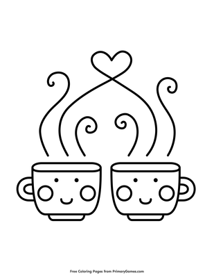 Teacup Coloring Page - Coloring Home | 400x309