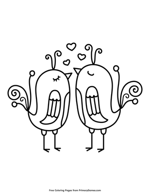 Love Birds Coloring Page | Printable Valentine's Day Coloring eBook