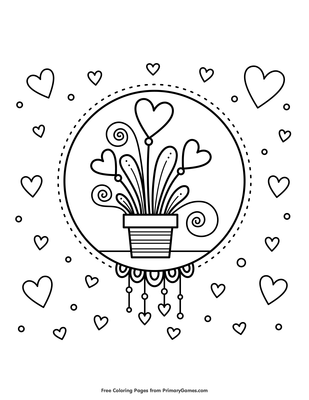 Hearts In Flower Pot Coloring Page Printable Valentine S Day
