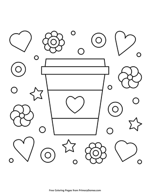 Hearts Flowers And Coffee Coloring Page Free Printable