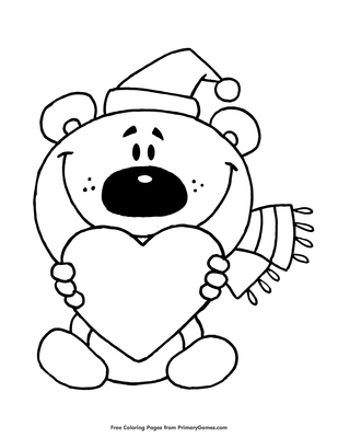 Printable Teddy Bear With Heart Arrow Coloring Page   400x309