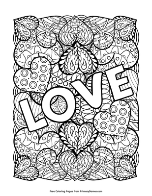 Love Coloring Page Free Printable Pdf From Primarygames