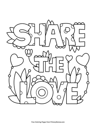 Share The Love Coloring Page  E  A Free Printable Pdf From Primarygames