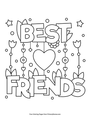 Best Friends Coloring Page Free Printable Pdf From Primarygames
