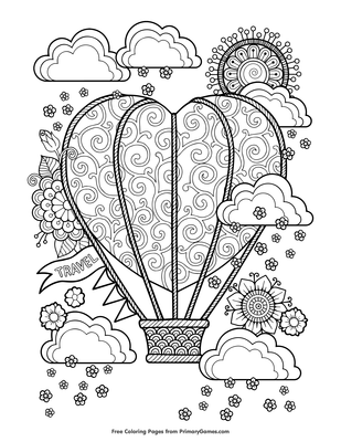 Coloring Pages | Flying Balloon Coloring Page | 400x309