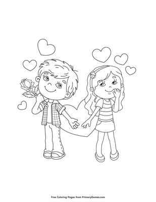 Boy and Girl Valentine Couple Coloring Page • FREE Printable ...