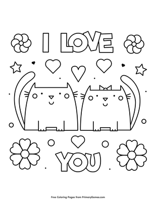 I Love You Coloring Page • FREE Printable PDF from PrimaryGames