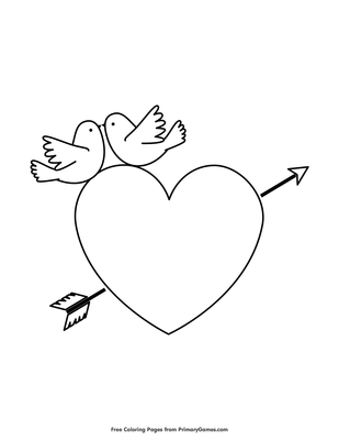 Love Birds And Hearth With Arrow Coloring Page Free