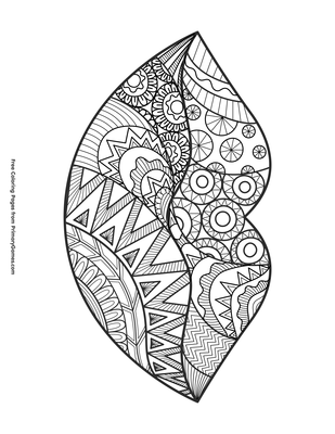 Zentangle Lips Coloring Page Printable Valentine S Day Coloring