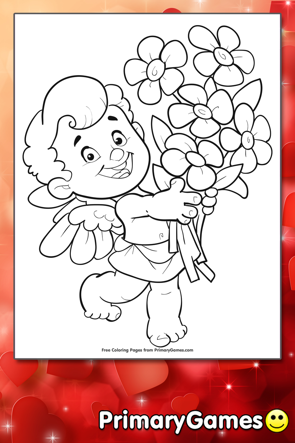 Valentines Coloring Pages Pdf : Cupid with flowers coloring page printable valentine s