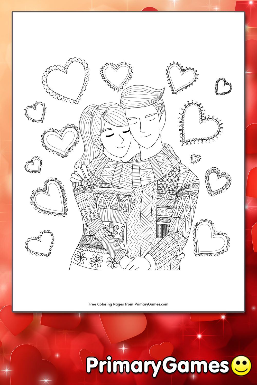 Couple In Love Coloring Page Printable Valentine S Day
