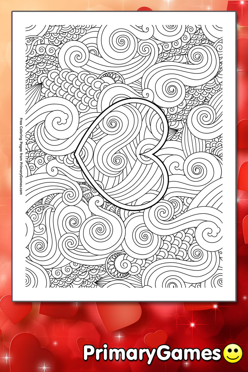 Zentangle Heart Coloring Page Printable Valentine S Day
