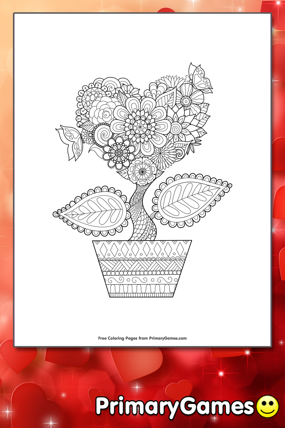 Valentines Coloring Pages Pdf : Heart flower coloring page printable valentine s day